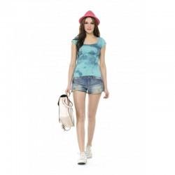 T-shirt délavé à manches courtes Taille-S Couleur-Bleu